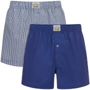 Levi's Men's 300LS 2-Pack Small Check Woven Boxers - Sodalite Blue