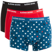 Bjorn Borg Men's 3 Pack Contrast Dot Detail Boxers - Blue