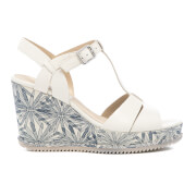 Clarks Women's Adesha River Leather T Bar Wedged Sandals - White
