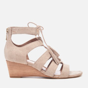 UGG Women's Yasmin Snake Tassle Leather Wedged Sandals - Horchata