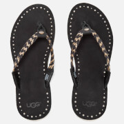 UGG Women's Navie II Leather Braided Flip Flops - Black