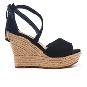 UGG Women's Reagan Suede Ankle Tie Jute Wedged Sandals - Black