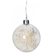 Bark & Blossom Gypsophila Bauble with Lights - White