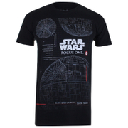 T-Shirt Homme Star Wars Rogue One l'Étoile de la Mort Plans - Noir