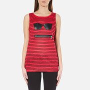 Karl Lagerfeld Women's Striped Linen Tank Top - Red