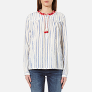 Maison Scotch Women's Drapey Woven Stripe Top with Embroidered Collar - Multi