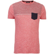 Brave Soul Men's Lenin Stripe Pocket T-Shirt - Red/Navy/White