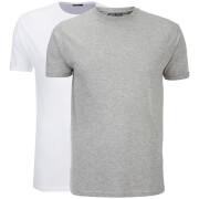 Brave Soul Men's 2 Pack Vardan T-Shirt - White/Light Grey Marl