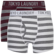 Tokyo Laundry Men's Esterbrooke 2 Pack Striped Boxers - Mid Grey Marl/Optic White
