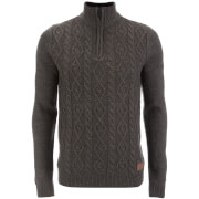 Pull Threadbare pour Homme Furrow Zip Col Haut -Gris Chiné