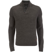 Threadbare Men's Tanner Button Neck Jumper - Charcoal Marl