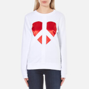 Love Moschino Women's Peace Heart Sweatshirt - Optical White