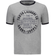 Tokyo Laundry Men's Double Stitched T-Shirt - Light Grey Marl