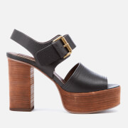 See By Chloé Women's Leather Platform Heeled Sandals - Black