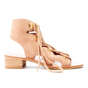 See by Chloe Women's Suede Lace Front Sandals - Powder