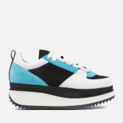 Ganni Women's Naomi Leather Trainers - Cyan/Black/White