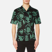AMI Men's Flowers Print Short Sleeve Shirt - Black/Green