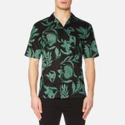 AMI Men's Flowers Print Short Sleeve Shirt - Black/Green