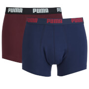 Puma Men's 2 Pack Basic Boxers - Burgundy/Navy