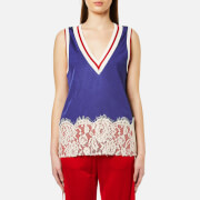 MM6 Maison Margiela Women's V-Neck Lace Bottom Sleeveless Top - Worker Blue Cali Co/Red Rib