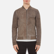 Selected Homme Men's Mark Suede Bomber Jacket - Grey