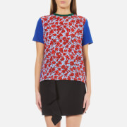 MSGM Women's Rose Printed T-Shirt - Blue