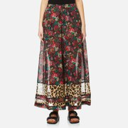 Maison Scotch Women's Wide Leg Pants with Contrast Hem Panels - Multi