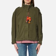 Maison Scotch Women's Relaxed Fit Army Jacket with Hidden Hood - Army