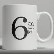 Alphabet Keramik Designer Tasse - Nummer 6