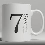 Alphabet Keramik Designer Tasse - Nummer 7