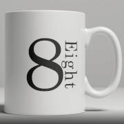 Alphabet Keramik Designer Tasse - Nummer 8