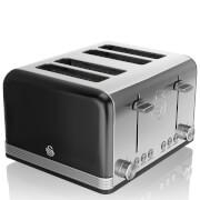 Swan 4 Slice Retro Toaster - Black