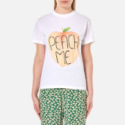Ganni Women's Harvards Peach T-Shirt - Bright White