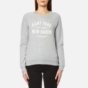 GANT Women's Pastel Crew Neck Sweatshirt - Light Grey Melange