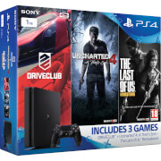 PLAYSTATION 4 Slim with Uncharted 4, DRIVECLUB & The Last of Us: Remastered - 1 TB