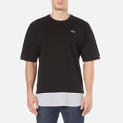 Lacoste L!ve Men's Long Line Crew Neck T-Shirt - Black/Silver Chine