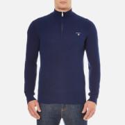 GANT Men's Cotton Pique Half Zip Sweatshirt - Persian Blue