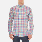 GANT Men's Madras Plaid Long Sleeve Shirt - Bright Pink