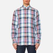 GANT Men's Linen Plain Long Sleeve Shirt - Persian Blue