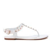 Dune Women's Laciee Leather Toe Post Sandals - White