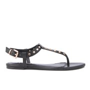 Dune Women's Laciee Leather Toe Post Sandals - Black