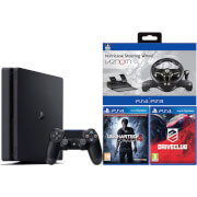 PlayStation 4 Slim 500GB with Uncharted 4, Drive Club, Assetto Corsa and Steering Wheel