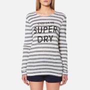 Superdry Women's Nautical Step Hem Top - Black/Ecru Twist Stripe