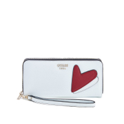 Guess Women's Pinup Pop Large Zip Around Purse - White