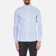 Maison Kitsuné Men's Classic Jacquard Fox Long Sleeve Shirt - Light Blue Stripe