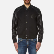 Versace Collection Men's Leather Detail Blouson Jacket - Nero
