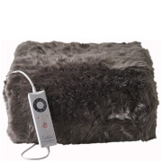 Dreamland Relaxwell 16339 Intelliheat Luxury Heated Faux Fur Throw - Slate Grey