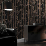 Boutique Linden Branch Tree Print Black/Copper Metallic Wallpaper