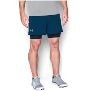 Under Armours Men's Qualifier 2 in 1 Shorts - Blackout Navy/Steel