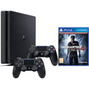 Sony Playstation 4 Slim 1TB Console with Uncharted 4 and DualShock 4 Controller V2 - Black